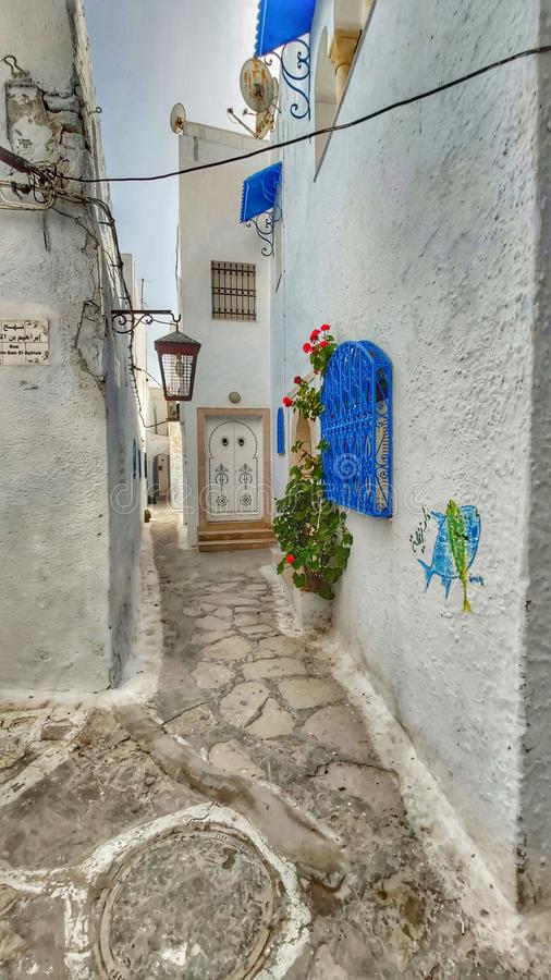 Hammamet, Tunesien, Straßen altes Medina lizenzfreie stockbilder