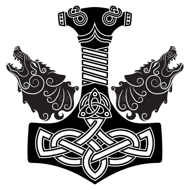 Hammare för Thor s - Mjollnir, den skandinaviska prydnaden och två wolfs royaltyfri illustrationer