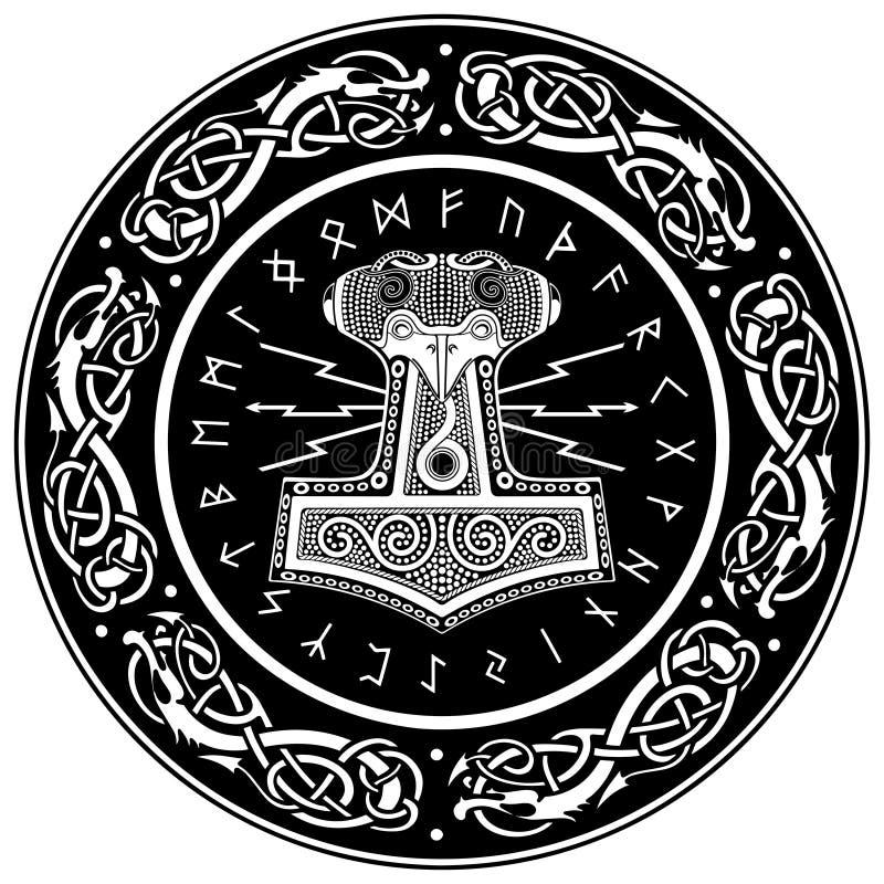 Hammare för Thor` s - Mjollnir och den skandinaviska prydnaden stock illustrationer