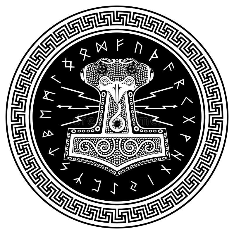 Hammare för Thor` s - Mjollnir och den skandinaviska prydnaden vektor illustrationer