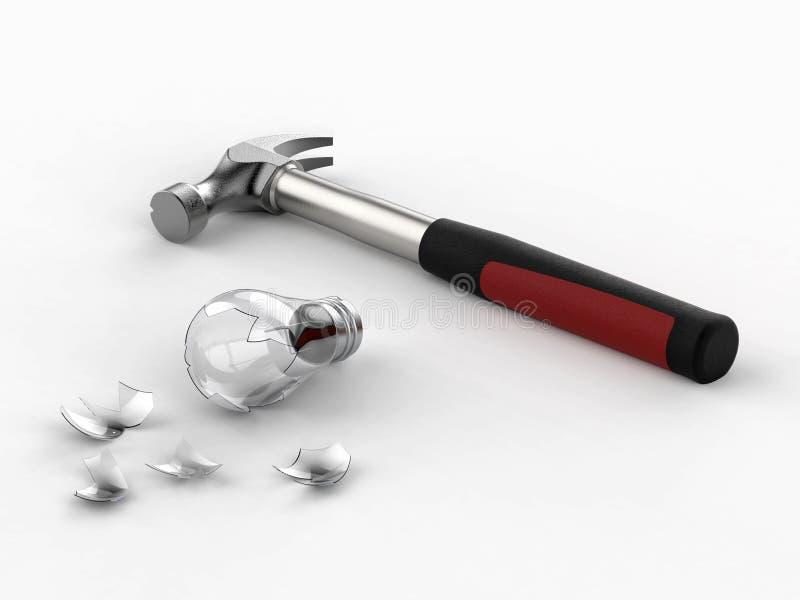 Hammare och bruten ljus kula broken exponeringsglas framförande 3d stock illustrationer