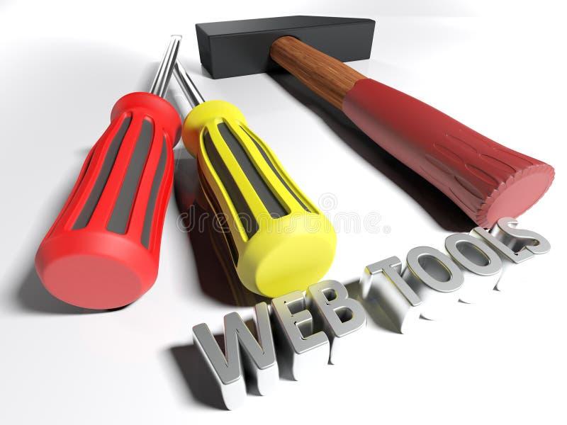 Hammare och screwdrivewrs för rengöringsdukhjälpmedel - tolkning 3D stock illustrationer
