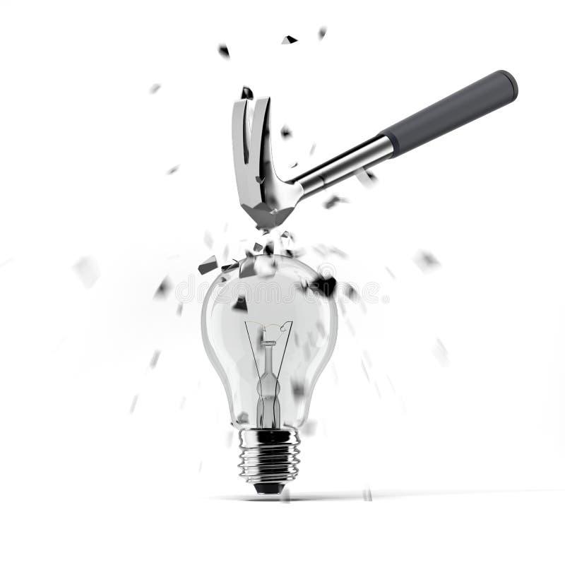 Hammare som kraschar på ljus kula vektor illustrationer