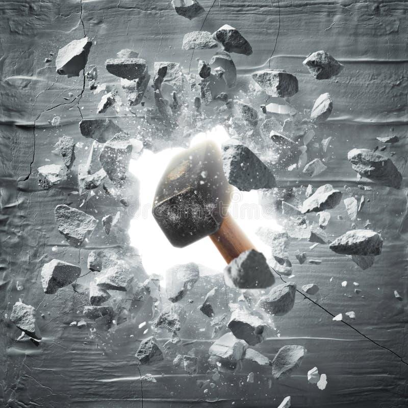 Hammare som slår väggen arkivbild