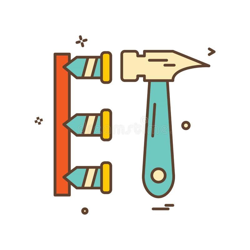 hammarearbete spikar symbolsdesignvektorn stock illustrationer