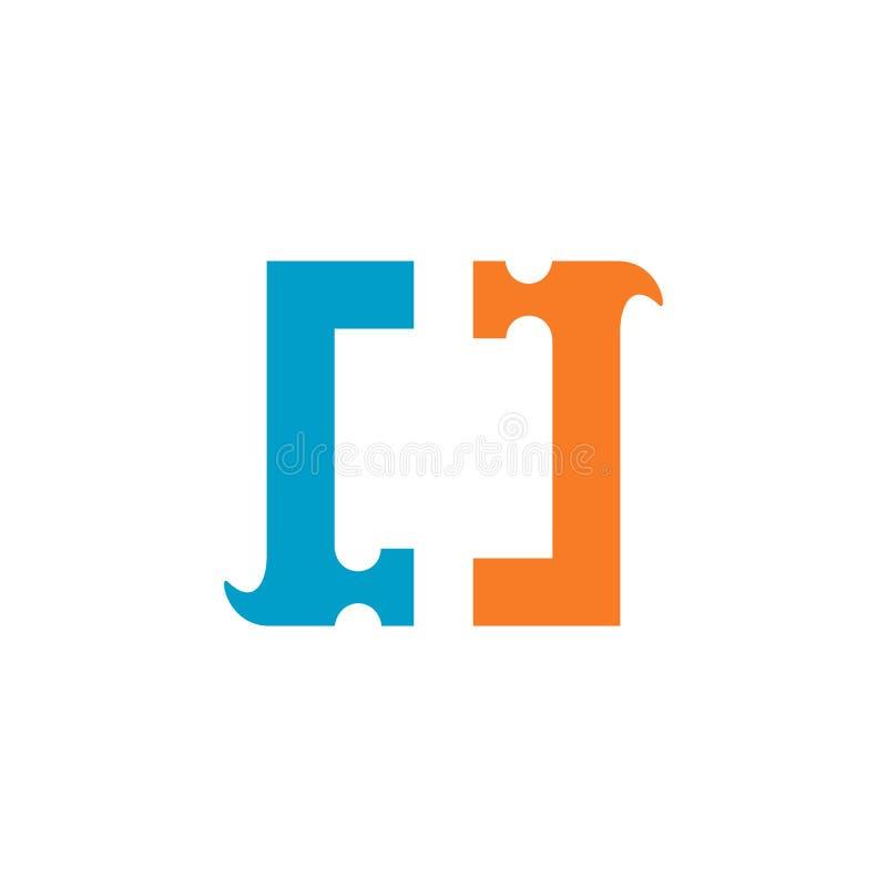 Hammarefyrkant Logo Design, stiliserad hammare Logo Icon - vektor vektor illustrationer