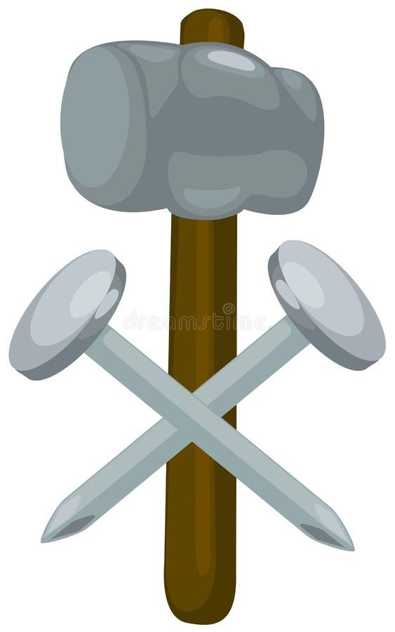 hammaren spikar vektor illustrationer