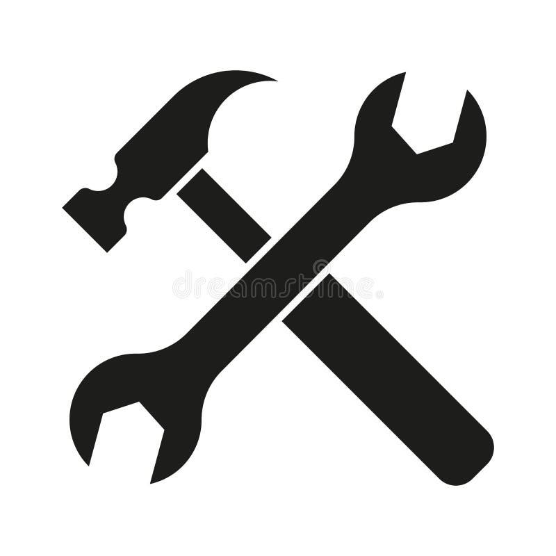 Hammareturnscrew bearbetar symbolen stock illustrationer