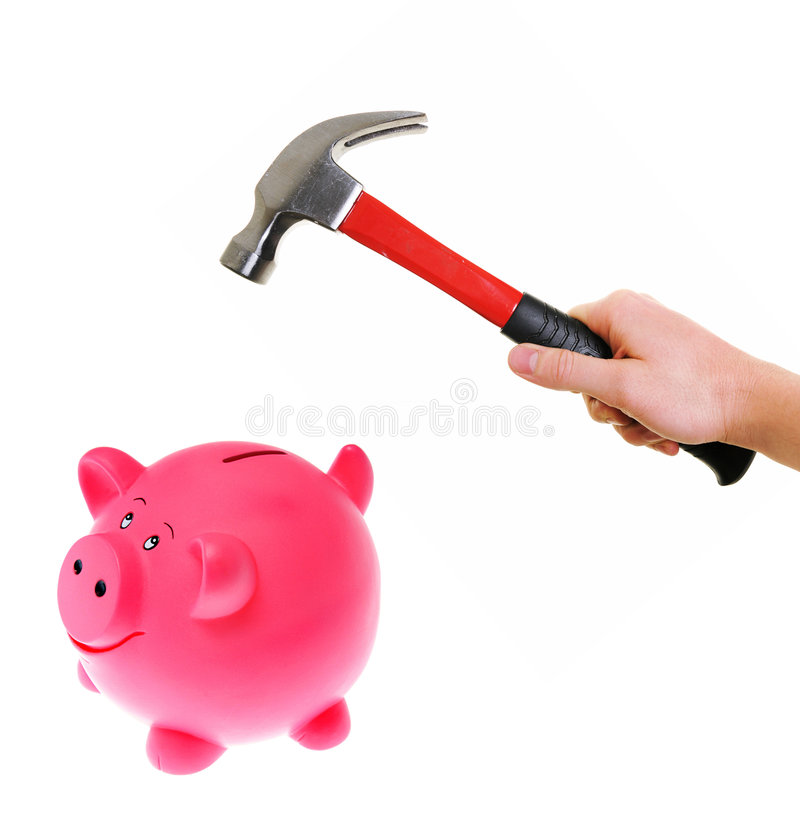 Free Hammer About To Smash Piggy Bank Stock Image - 7697261