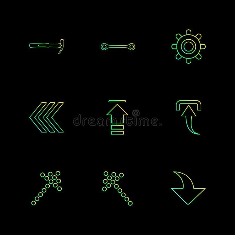 Hammer, Antriebskraft, Rückseite, Download, Pfeile, Richtungen, link, vektor abbildung