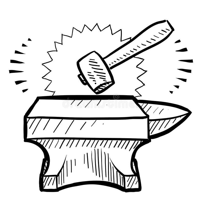 Vector Illustration Hammer: Hammer And Anvil Vector Stock Vector. Illustration Of