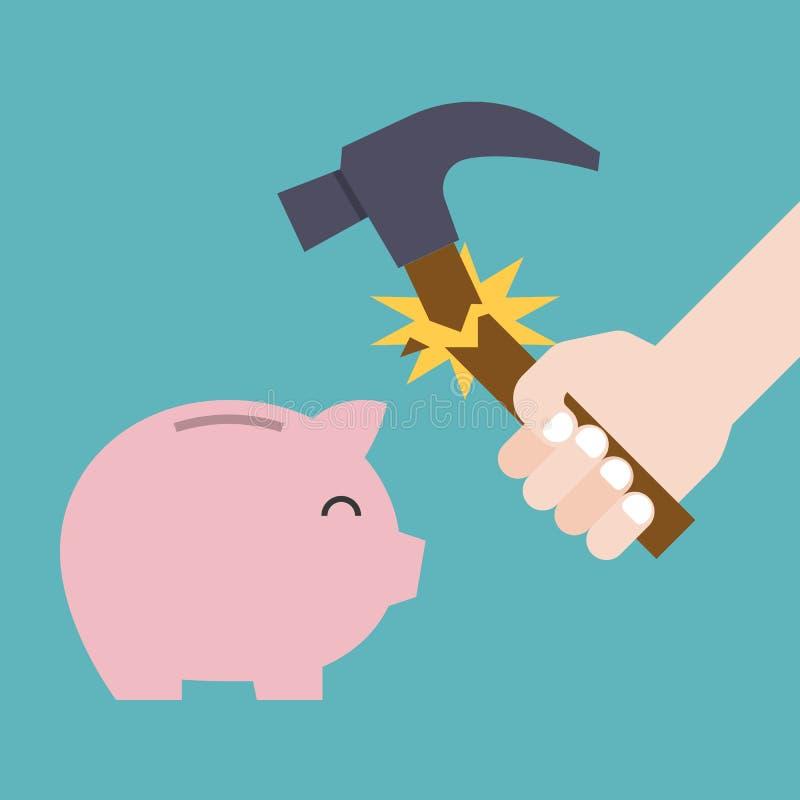 Hammer broken before break the piggy bank vector illustration