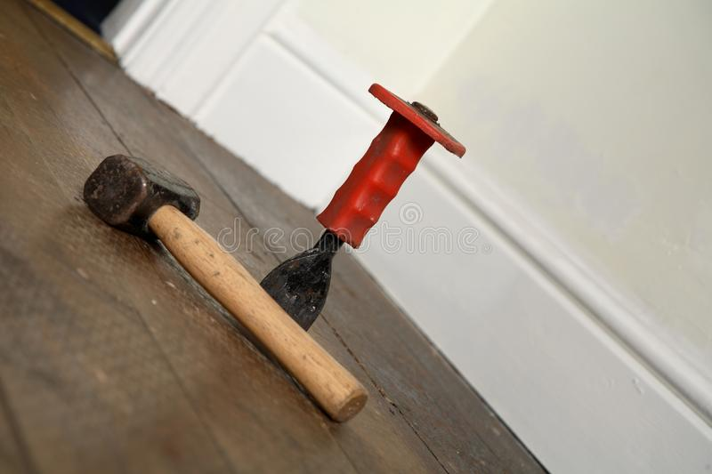 Hammer and chisel stock image. Image of tools, hardwood ...
