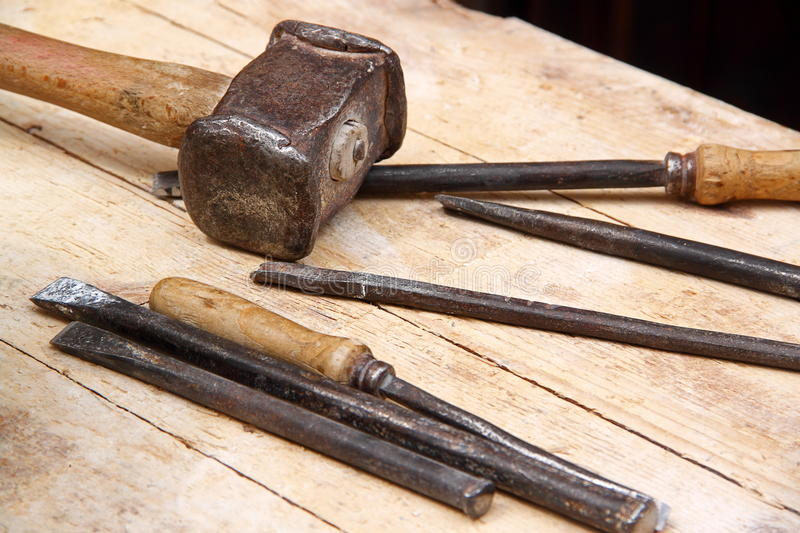 Download Hammer and chisels stock photo. Image of material, hammer - 26328040