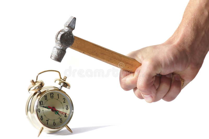 Hammer and clock stock image