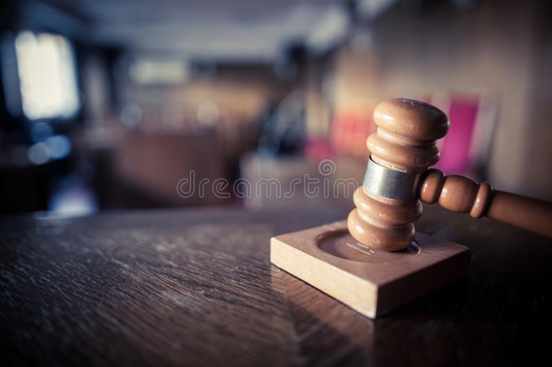 Hammer in a courtroom stock photos