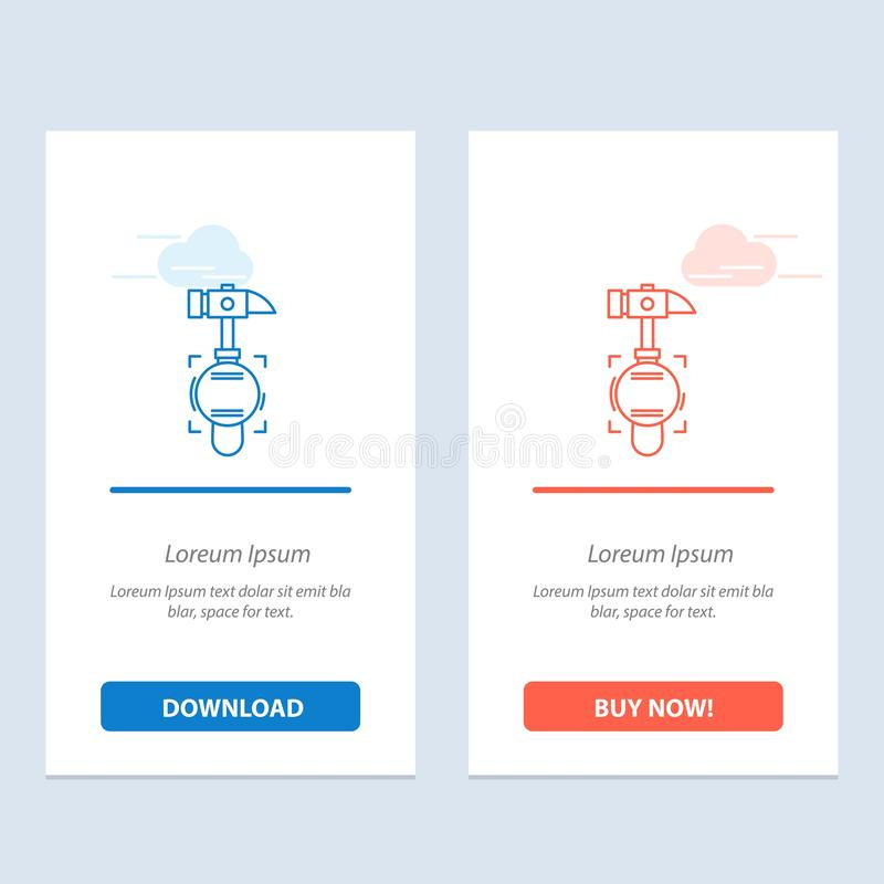 Hammer, Crash, Break, Tool  Blue and Red Download and Buy Now web Widget Card Template vector illustration