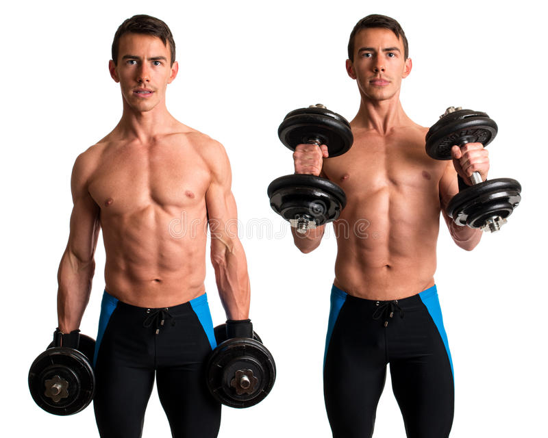 Hammer Curl Exercise. Studio composite over white royalty free stock photo
