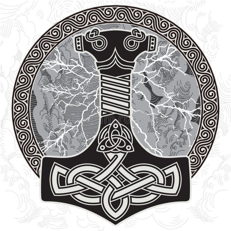 Hammer des Thor s - Mjollnir Gegen den Hintergrund des funkelnden Blitzes und der skandinavischen Verzierung lizenzfreie abbildung