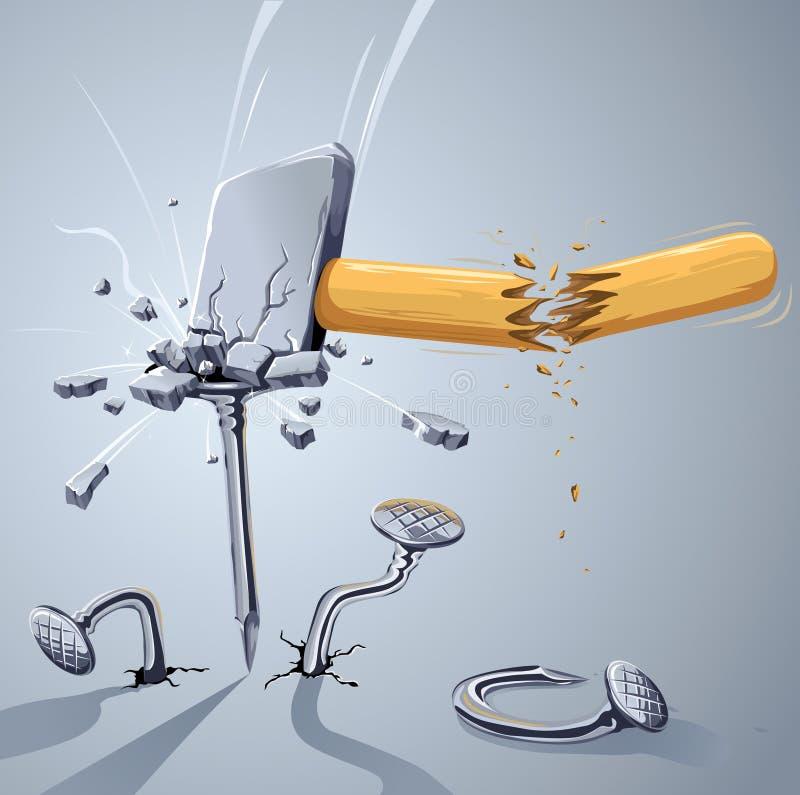 Hammer gebrochen, einen Nagel schlagend lizenzfreie abbildung