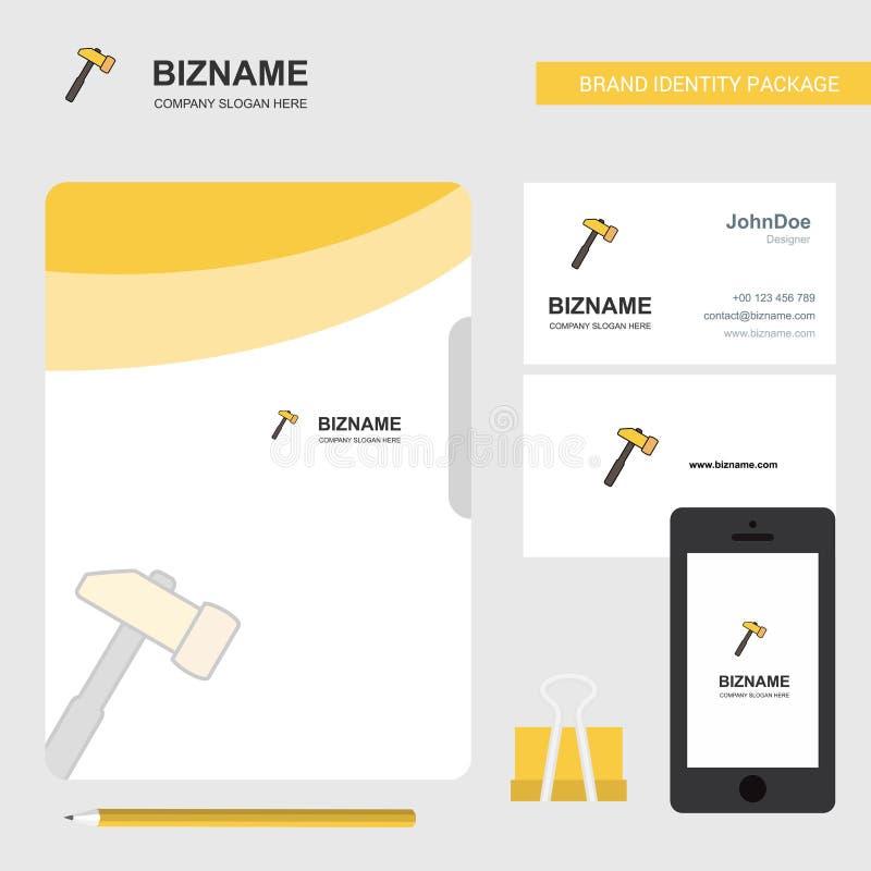Hammer-Geschäfts-Logo, Aktendeckel-Visitenkarte und beweglicher App-Entwurf Auch im corel abgehobenen Betrag lizenzfreie abbildung