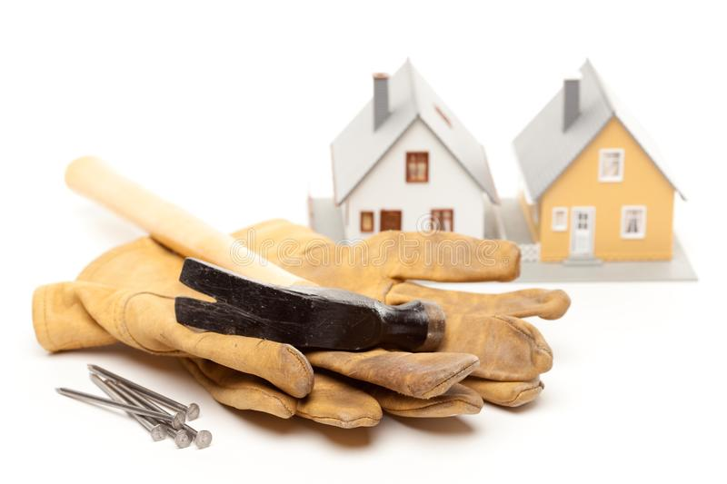 Hammer, Gloves, Nails And House Free Stock Photos
