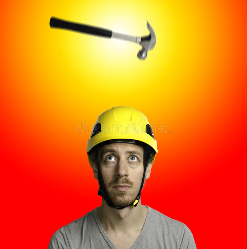 Download Hammer and hard hat stock photo. Image of fall, falling - 33052346