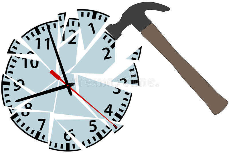 Hammer hits to smash time clock pieces vector illustration