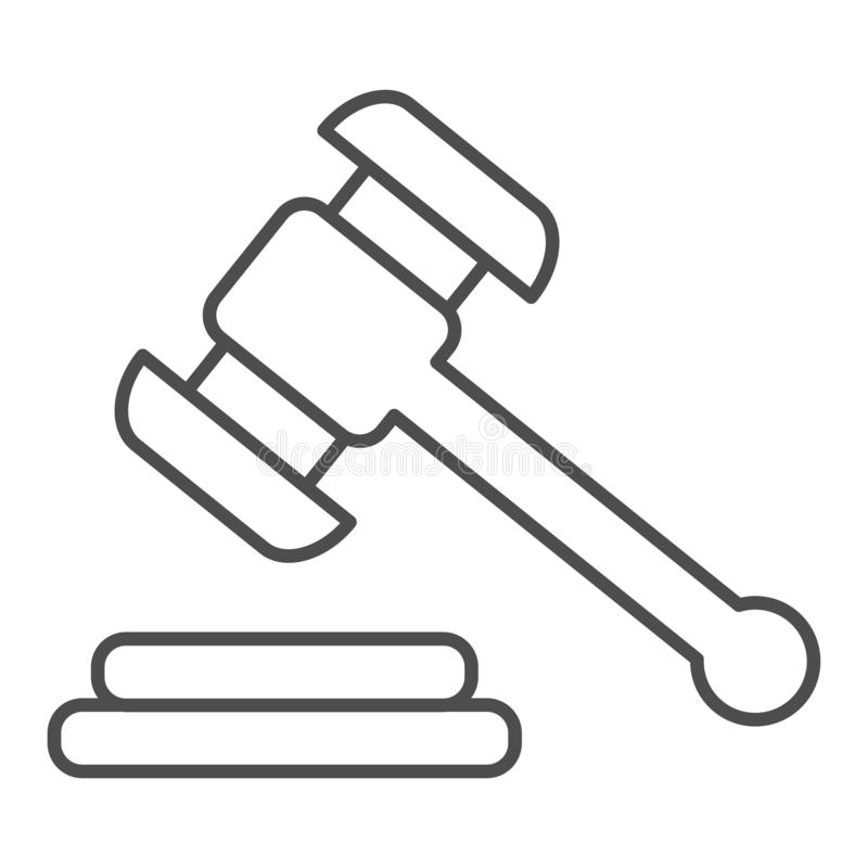 Hammer judje d?nne Linie Ikone Auktionshammer-Vektorillustration lokalisiert auf Wei? Gerechtigkeitsentwurfs-Artentwurf vektor abbildung