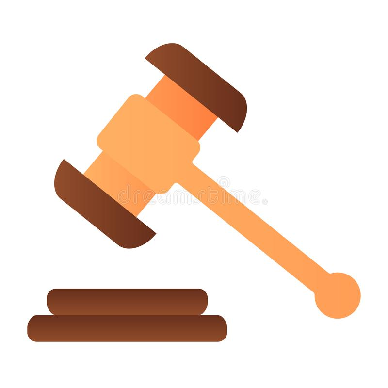 Hammer judje flache Ikone Auktionshammer-Farbikonen in der modischen flachen Art Gerechtigkeitssteigungs-Artentwurf, bestimmt f?r stock abbildung