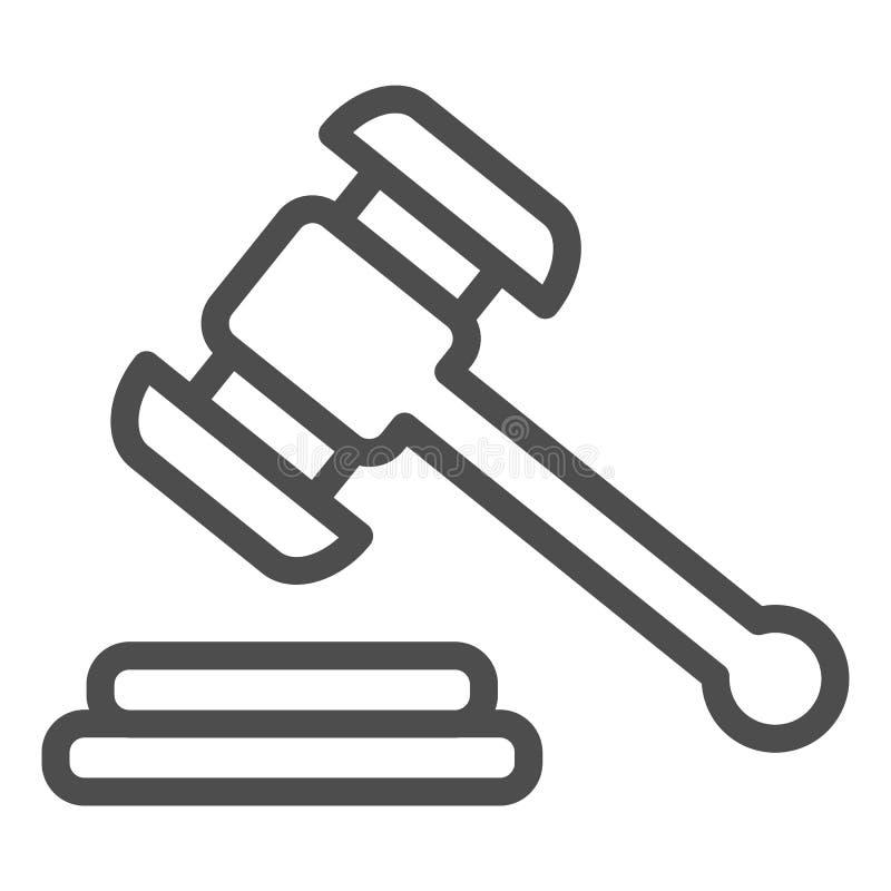 Hammer judje Linie Ikone Auktionshammer-Vektorillustration lokalisiert auf Wei? Gerechtigkeitsentwurfs-Artentwurf, entworfen f?r stock abbildung