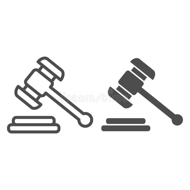Hammer judje Linie und Glyphikone Auktionshammer-Vektorillustration lokalisiert auf Wei? Gerechtigkeitsentwurfs-Artentwurf stock abbildung