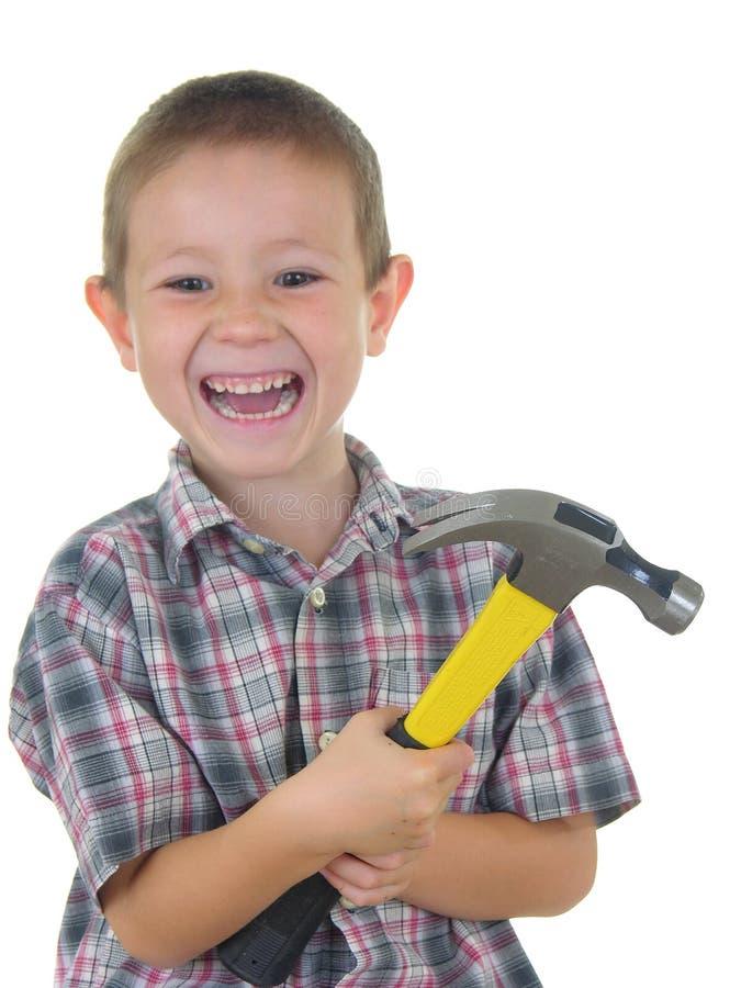 Hammer-Junge stockfotografie