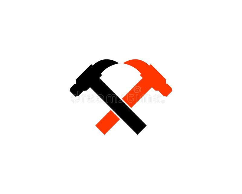 Hammer logo for construction, maintenance, property, home repairing business company. Hammer logo royalty free illustration