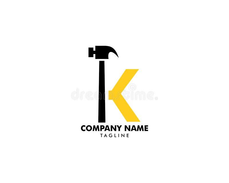 Hammer-Logo des Buchstabe-K, Heimwerkerservices Logovektorentwurf lizenzfreie abbildung