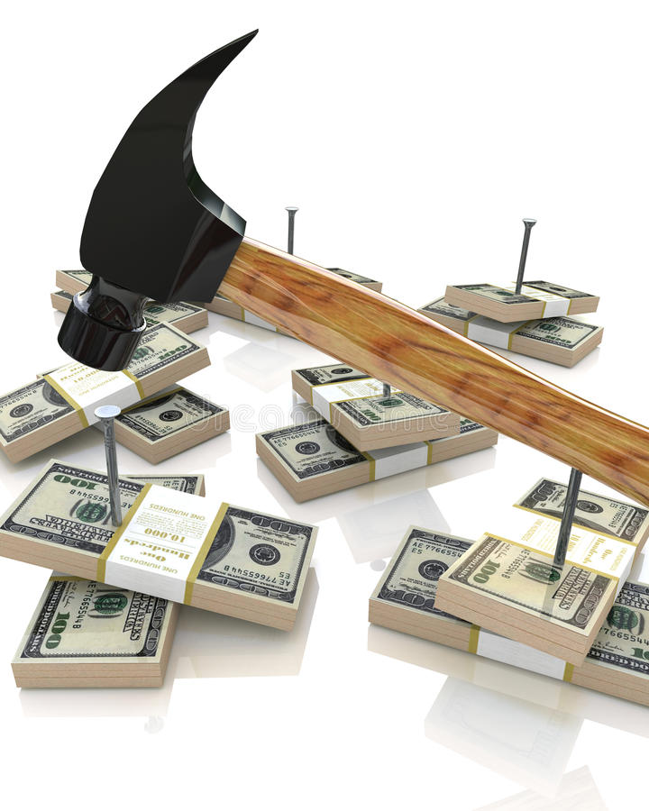 Hammer and money royalty free stock image