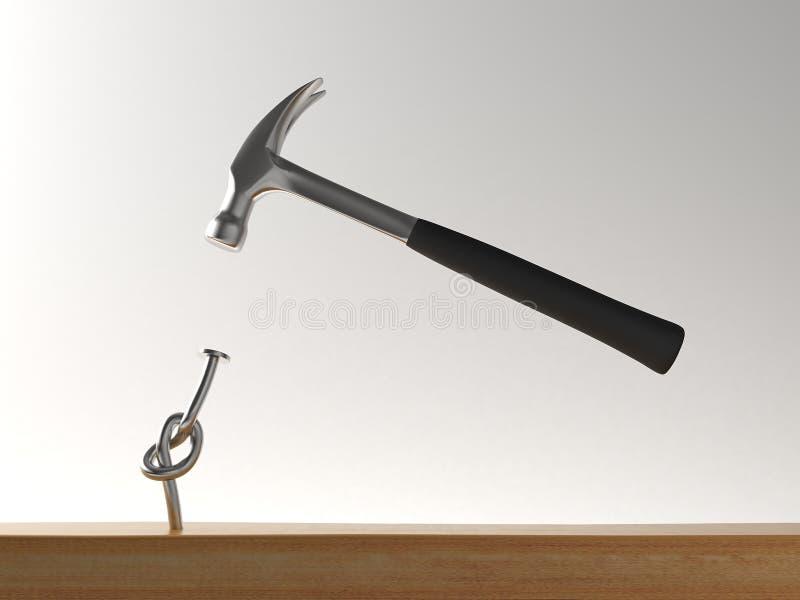Hammer and nail stock illustration