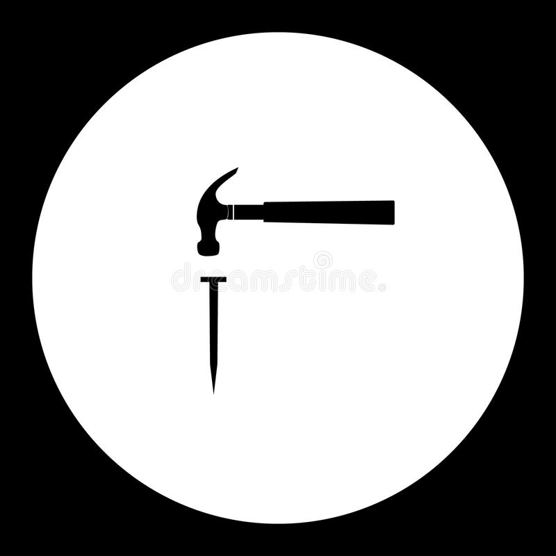 Hammer and nail simple silhouette black icon eps10 royalty free illustration