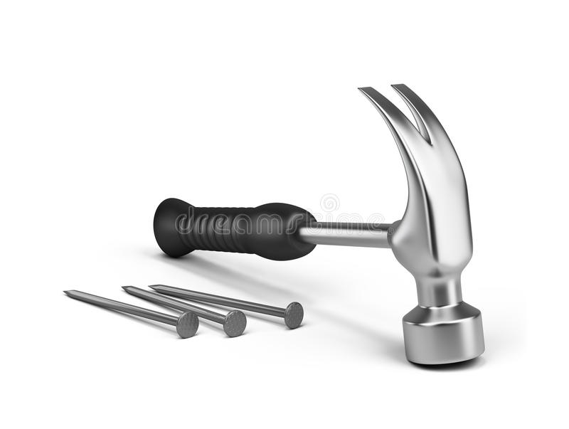 Download Hammer and nails stock illustration. Image of manage - 25816725