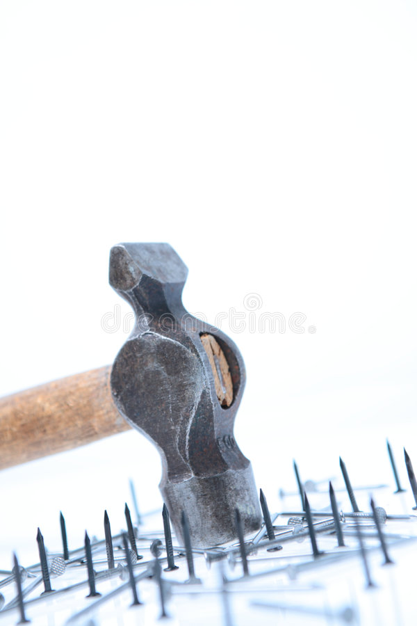 Hammer With Nails Royalty Free Stock Images