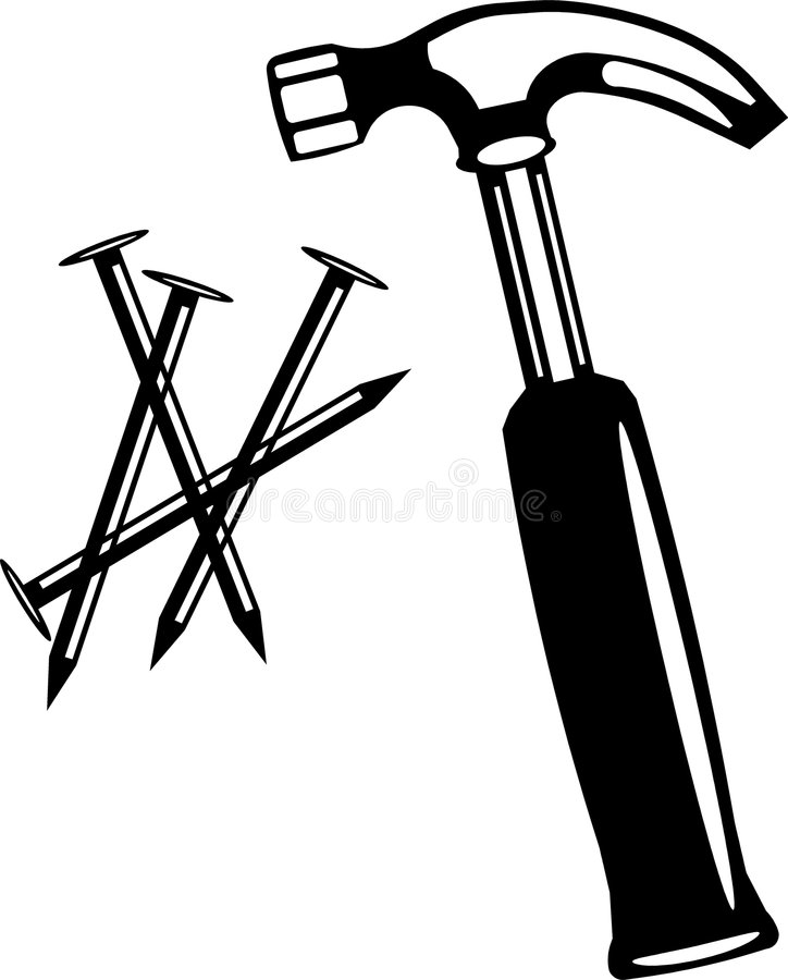 Vector Illustration Hammer: Hammer Nails Vector Art Stock Illustration. Illustration