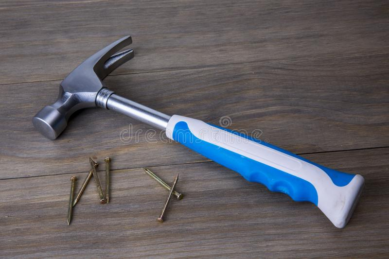 Hammer and nails stock photo