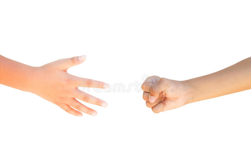 Hammer Paper Scissors. Isolated on white royalty free stock photos