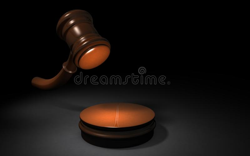 A hammer representing a court decision. Black background. 3D illustration. Abstract concept vector illustration
