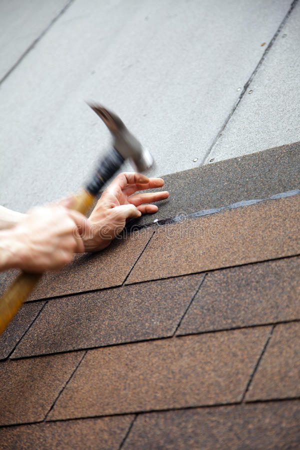Hammer roof with slates stock photo