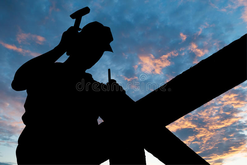 Hammer roofing works royalty free stock photography