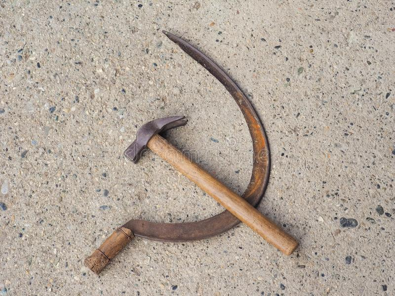 hammer and sickle symbol of communism stock images
