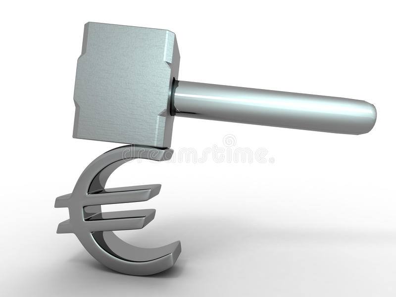 Download Hammer with sign euro stock illustration. Image of hammer - 15199892