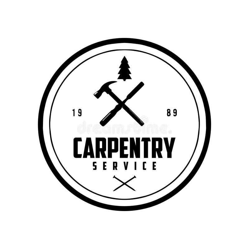 Hammer silhouette CARPENTRY SERVICE LOGO DESIGN VECTOR stock illustrationer