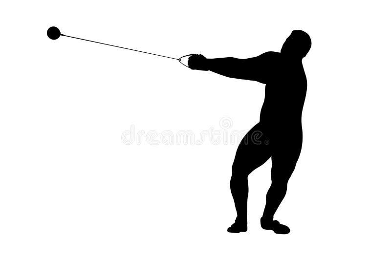 Hammer throw male athlete. Black silhouette stock illustration